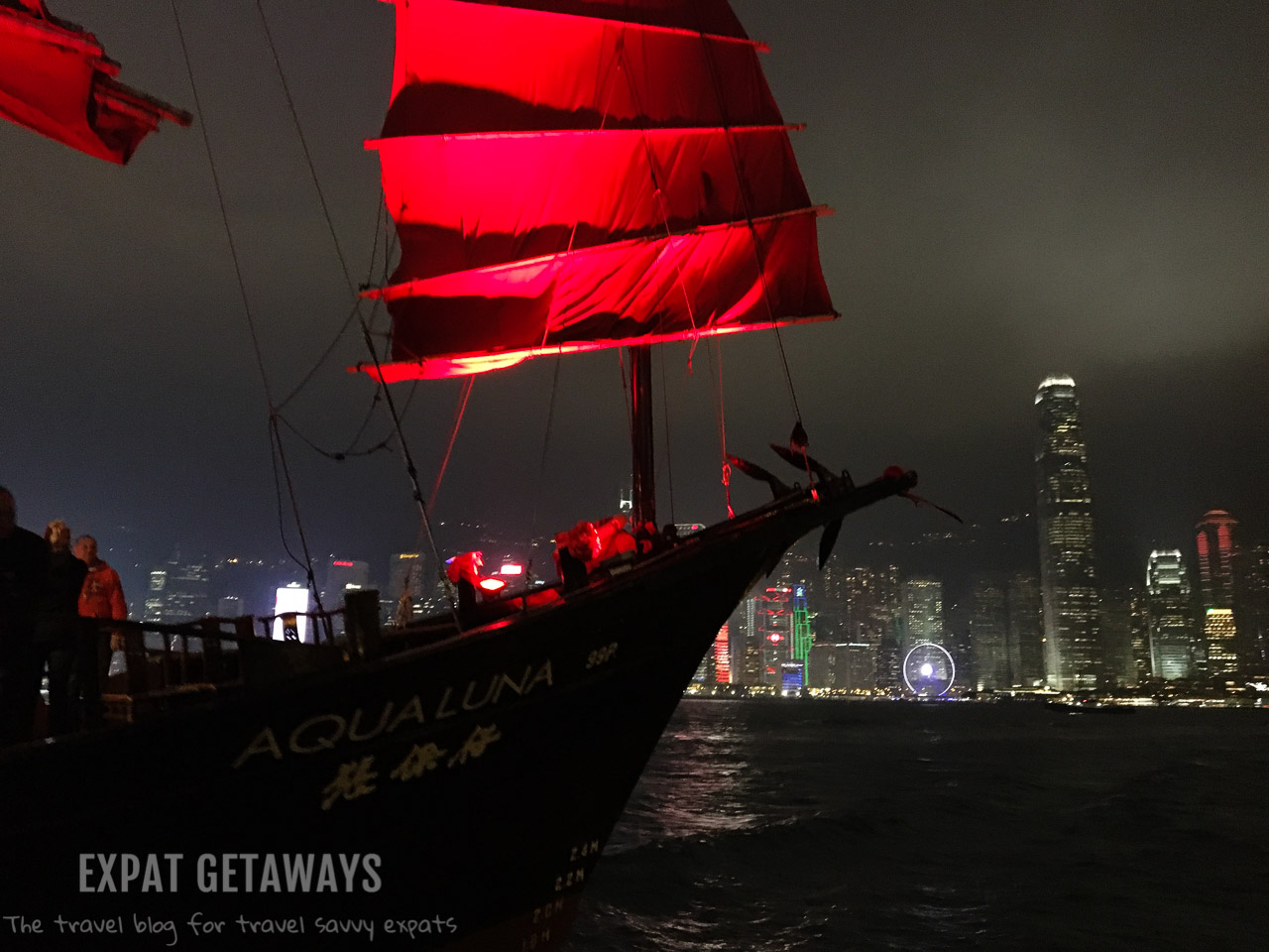 Seeing the skyline from the red sailed junk Aqua Luna is a fantastic experience in Hong Kong.