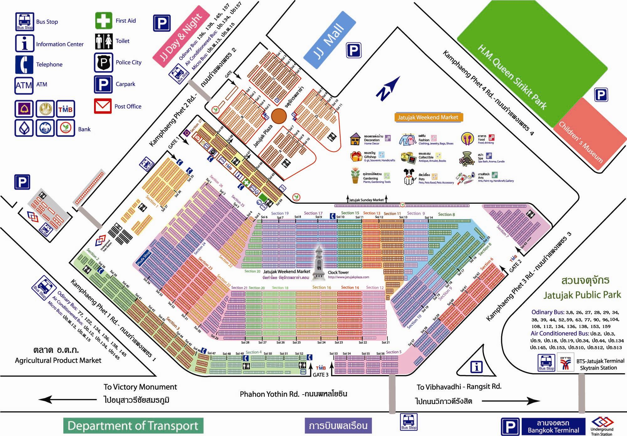 A map of the Chattuchak Markets in Bangkok.