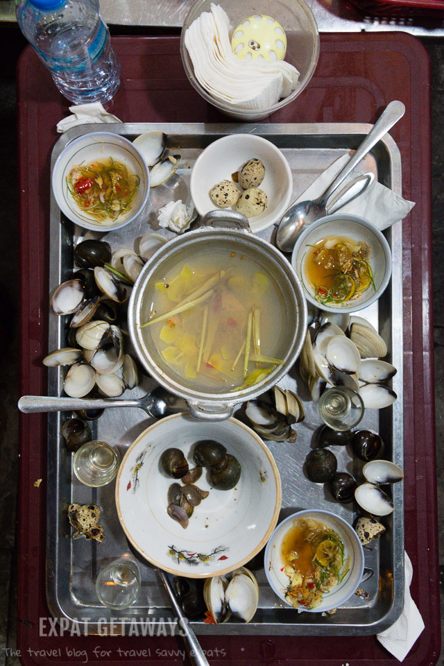 My favourite dish, clams boiled in pineapple and lemongrass.