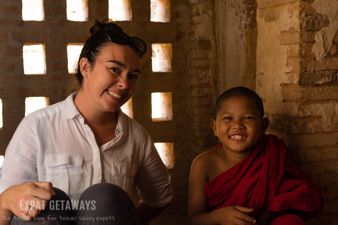 Jess sat down with a boy monk in a temple. After a bit of sign-language we learned their names and how old they were. Bagan, Myanmar