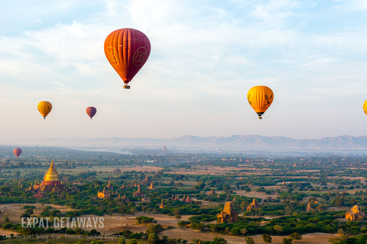 The view for a hot air balloon over Bagan, Myanmar.