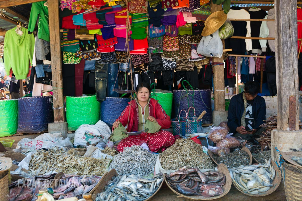 Local markets in Inle Lake, Myanmar rotate between villages every 5 days.