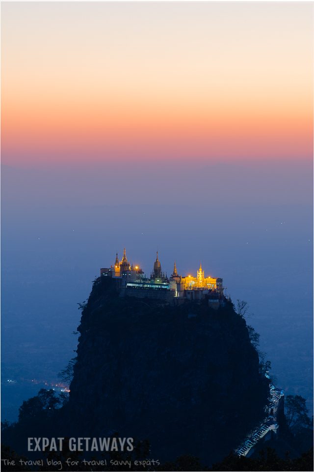 View of Taung Kalat from Mount Popa after sunset. andrewmizziphotography.com Follow my latest updates on Fb.com/andrewmizziphoto | Instagr.am/and.miz