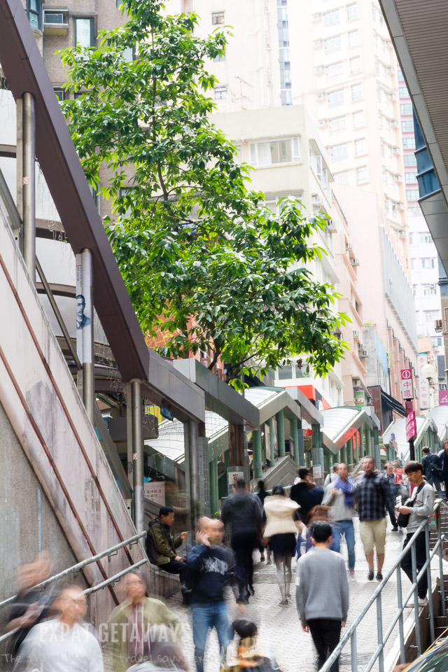 The Midlevels Escalator runs from Central half a mile up the hill. Hong Kong Western District