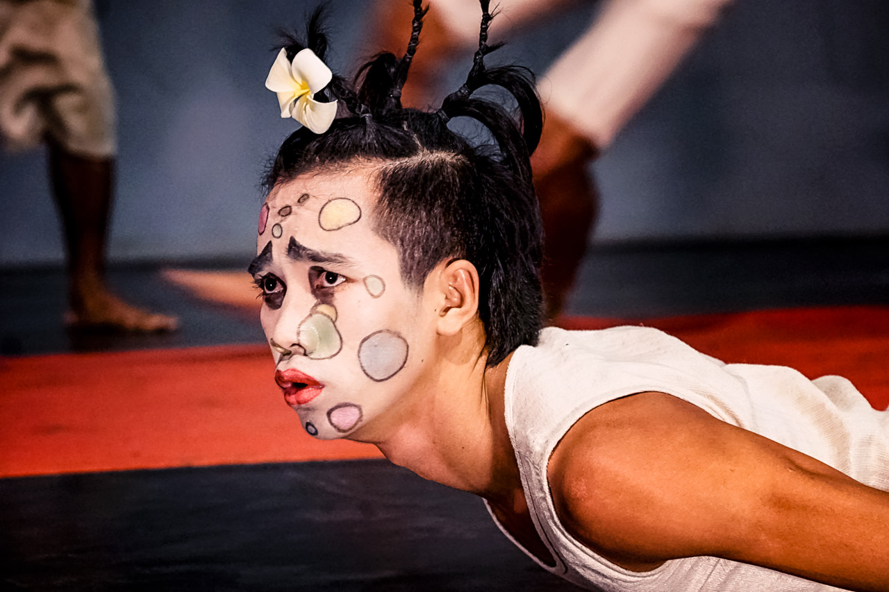 A performer on stage at Phare Ponleu Selpak circus in Battambang, Cambodia.