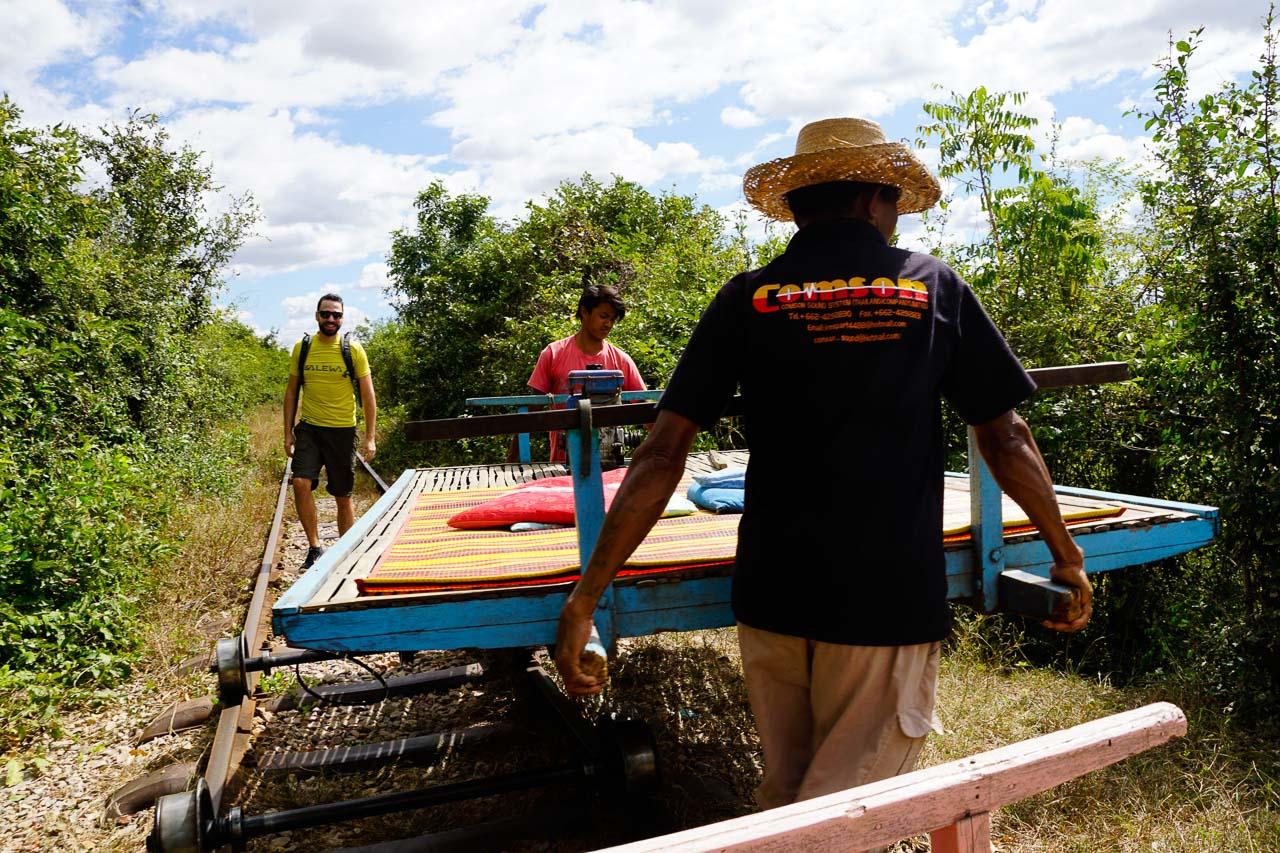 Riding the bamboo train in Battambang is like flying a magic carpet!