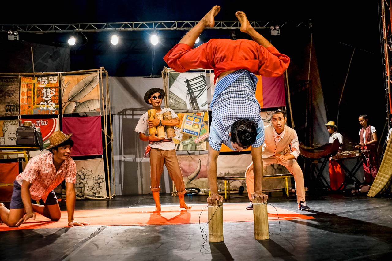 Amazing acrobatics at the Phare Ponleu Selpak circus in Battambang, Cambodia.