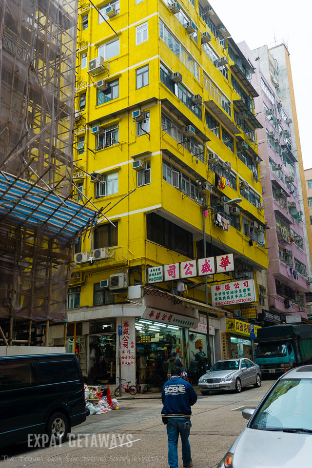 Colourful houses line the streets of Stone Nullah Lane in Wan Chai.