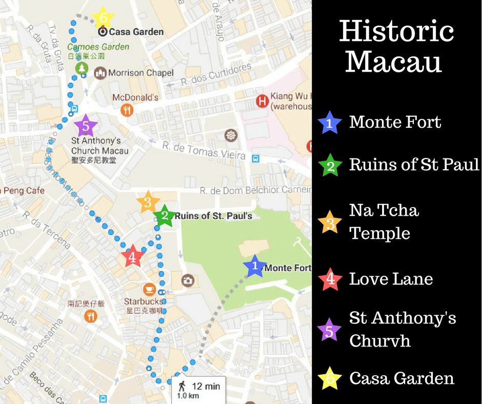 A self-guided walking map of historic Macau taking in the Ruins of St Pauls and the surrounding St Anthony's Parish.