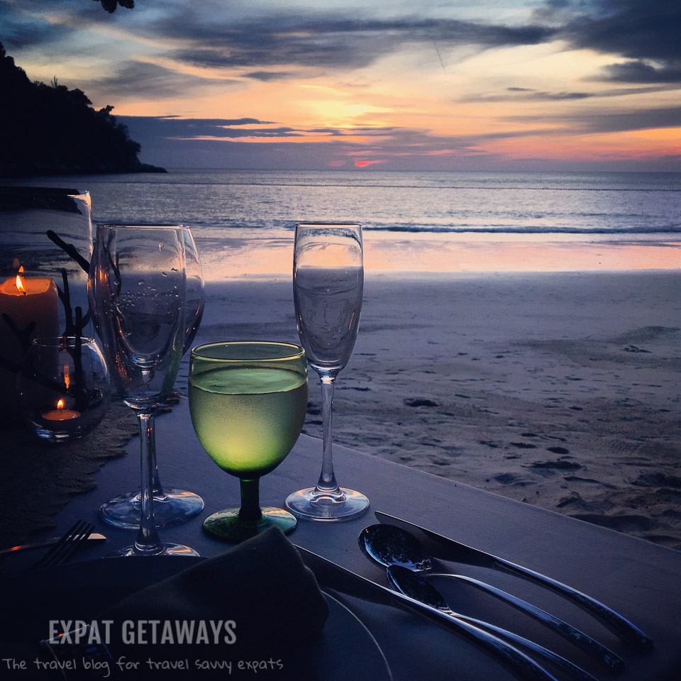The perfect way to spend an anniversary was a private dinner at the beach watching sunset at Pangkor Laut Resort, Malaysia.