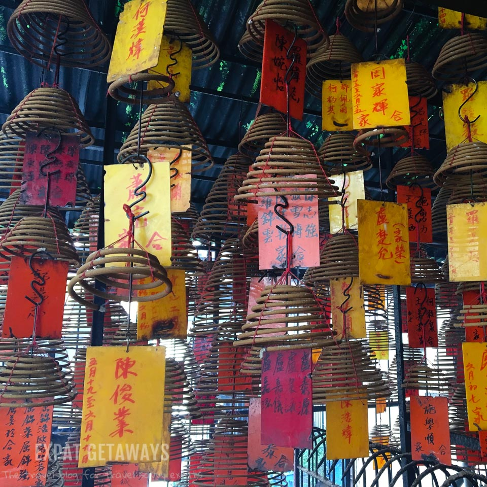 Incense coils hang from the ceiling of the Pak Shing Temple in Tai Ping Shan, Hong Kong.