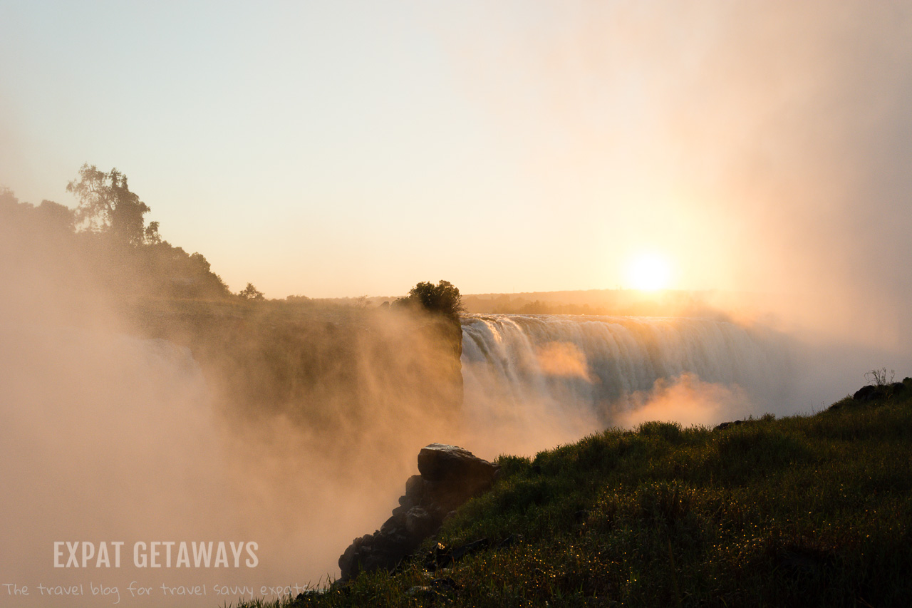 A sunrise at Victoria Falls, Zimbabwe is always worth getting up early for! Expat Getaways 2 weeks in Southern Africa.
