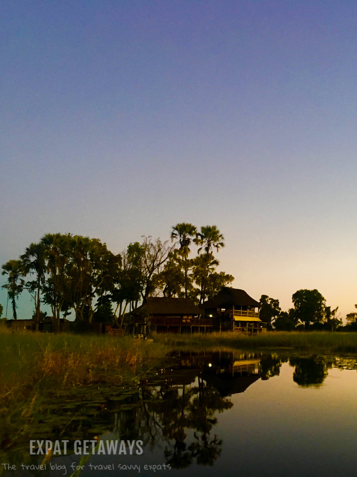 Gunn's Camp, Okavango Delta, Botswana is a great base directly on the riverfront. Expat Getaways 2 Weeks in Southern Africa.