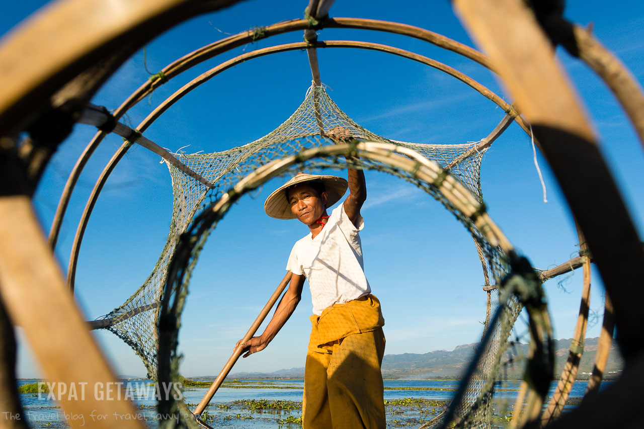 Looking through a traditional fishing net on Inle Lake, Myanmar.