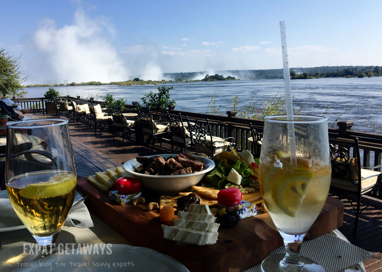 Lunch by the Zambezi River at the Royal Livingstone is worth the splurge! Victoria Falls, Livingstone, Zambia.