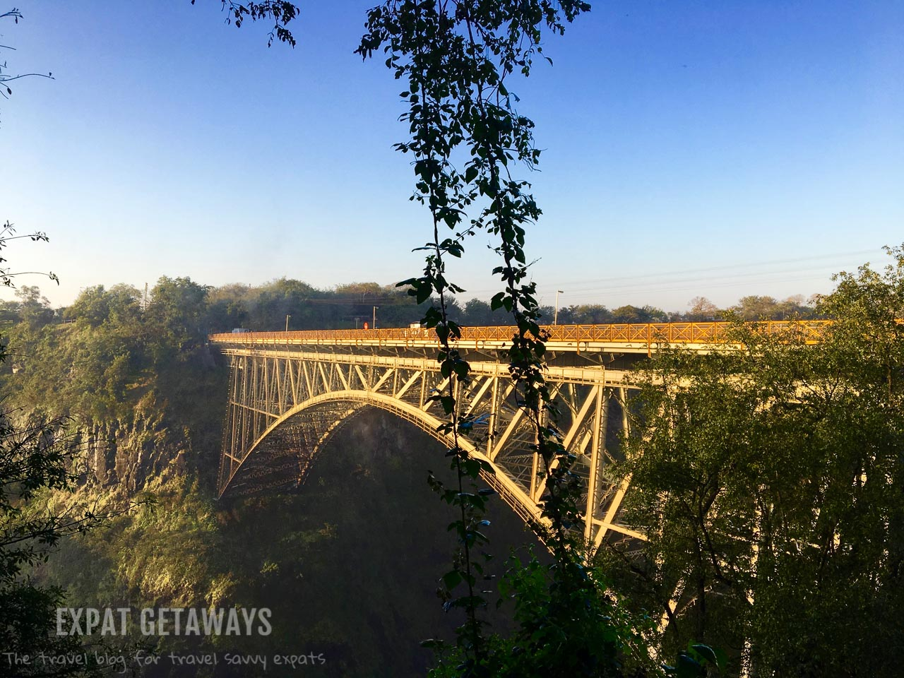 At viewpoint 16 you can see the Victoria Falls bridge which forms the boarder between Zimbabwe and Zambia.