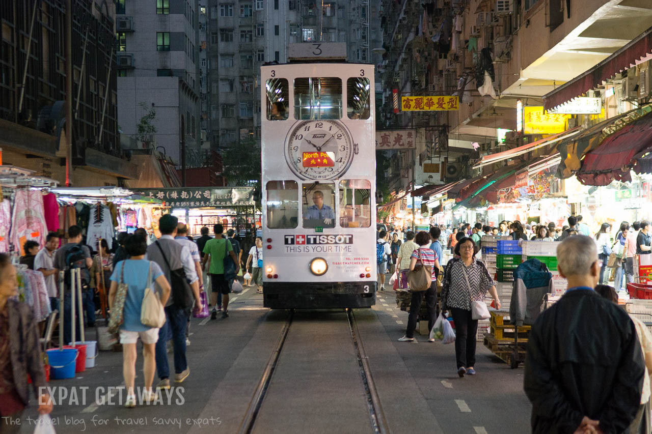 "The tram or ""ding ding"" is the perfect way for tourists to get around Hong Kong while still seeing the sights. Expat Getaways, First Time Hong Kong Survival Guide - Public Transport."