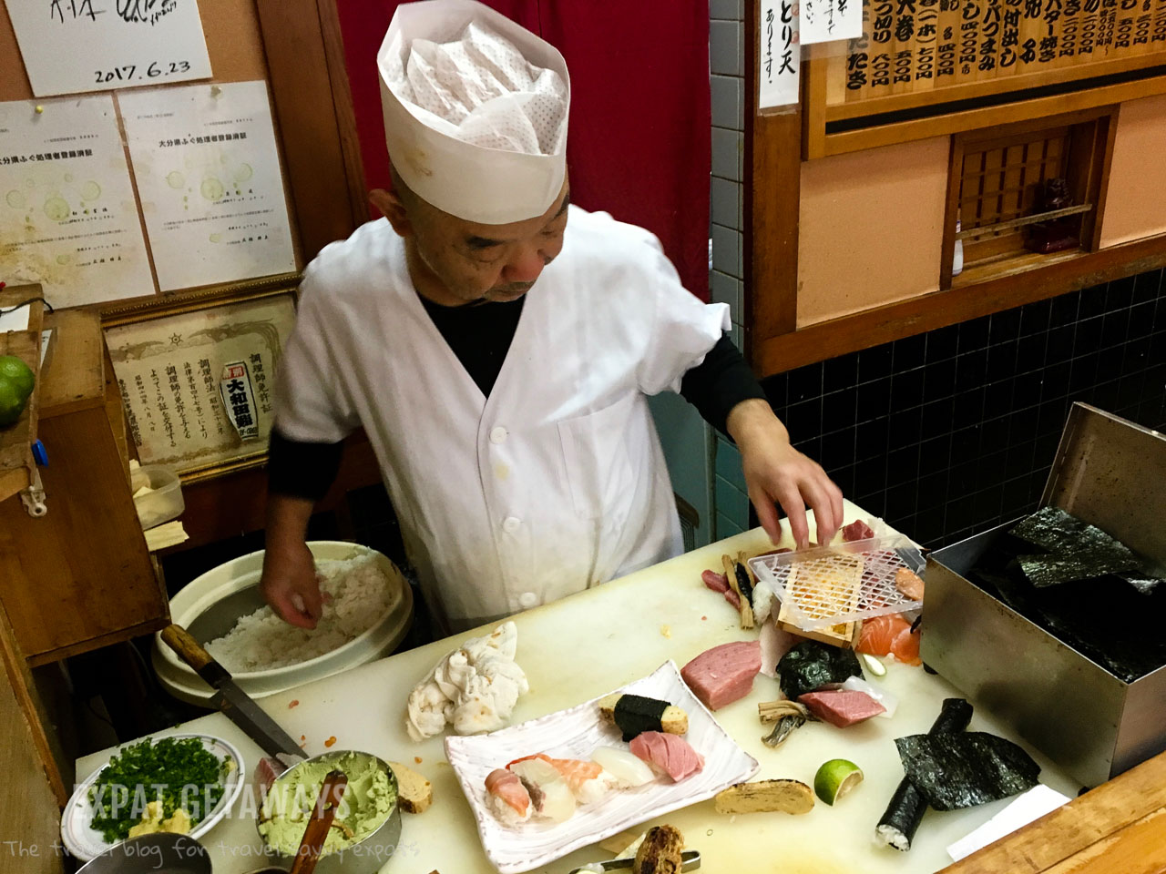 Sushi was off the menu for me, but the boys could enjoy! Expat Getaways - Babymoon Destinations.