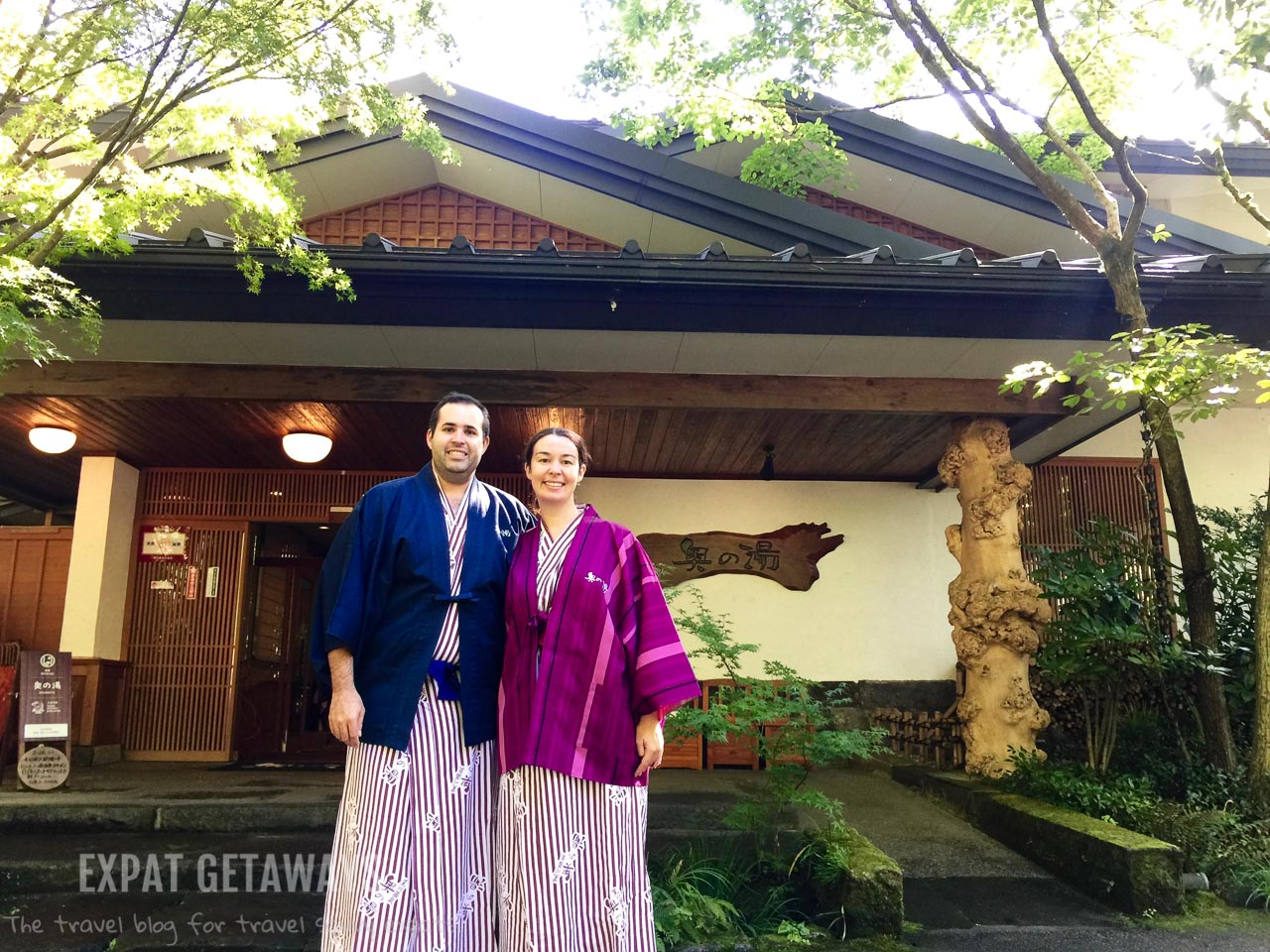 Enjoying a traditional Japanese ryokan in the onsen town Kurokawa. Expat Getaways - Babymoon Destinations.