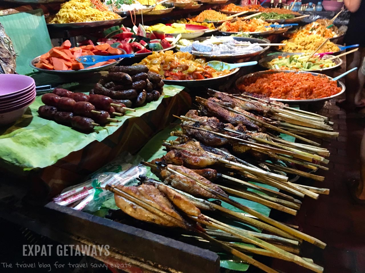 Pick your favourite street food at the Luang Prabang Night Markets. Luang Prabang, Laos. Expat Getaways, 48 Hours in Luang Prabang, Laos.