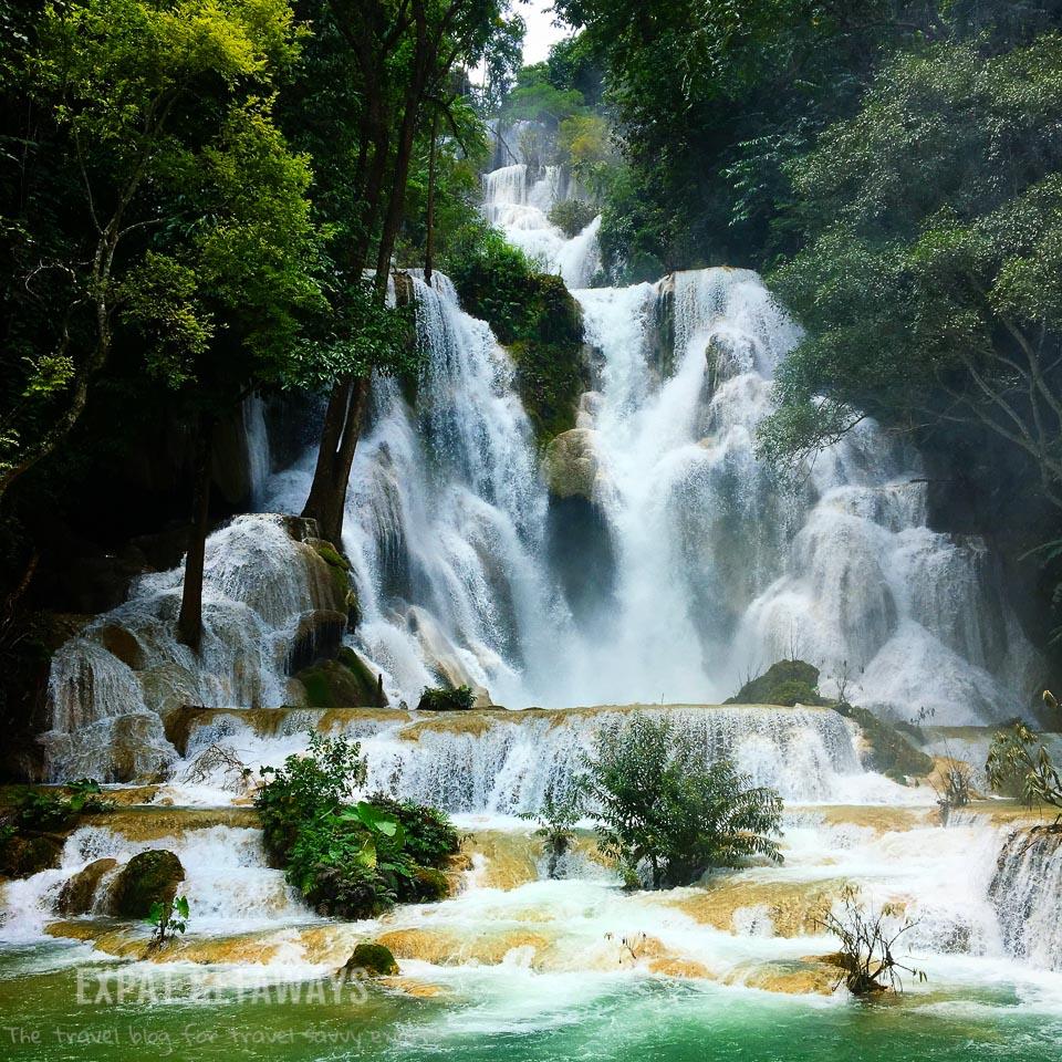 The spectacular Kuang Si Falls. Luang Prabang, Laos. Expat Getaways, 48 Hours in Luang Prabang, Laos.